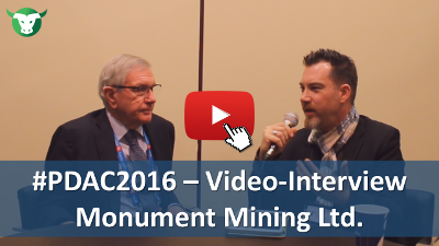 PDAC2016: Video-Interview mit Robert Baldock von Monument Mining Ltd.